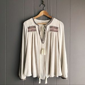 Moon River Embroidered Tassel Tie Peasant Top